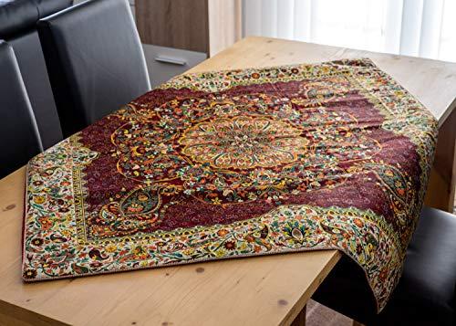 Classic Collection Teppich (LPUK Tischdecke Afshari Collection Series 5 Violet 100 cm × 100 cm ca. Quadratischen Tisch Stoff Tischdecke Classic Vintage)