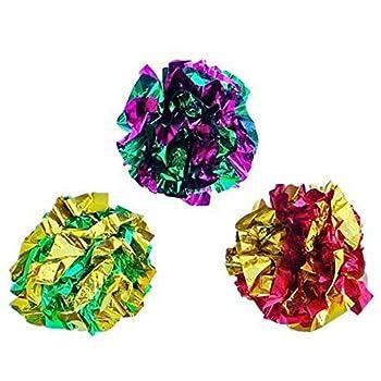 Yukong Jouet Chat 12 pcs Balles Colorees en Papier pour Chaton Jouer, Jouet pour Chat Mylar Balles Brillant Crinkle Crackle Boules Jouets de Chaton Jeux interactif Couleur Assortie
