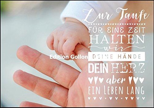 Glückwunschkarte zur Taufe ~ Für eine Zeit halten wir Deine Hände