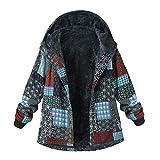 JUTOO Plus Size Frauen mit Kapuze Langarm Vintage Damen Fleece Dicke Mäntel Reißverschluss Mantel(Y1-Blau,X-Large)