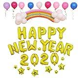 YakeHome 2020 Neujahr Neujahrsfest Event Happy Letters Aluminium Film Ballon Pauschalreisen Dekoration Arrangement Hintergrund