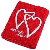 Abc Casa rotes Handtuch mit Herzen Ich Liebe Dich-romantische Geschenke zum Geburtstag, Jahrestag, Hochzeitstag, Valentinstag, Muttertag, Vatertag, für männer oder für Frauen