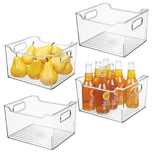 MDesign Juego 4 cajas nevera asas - Organizador frigorífico