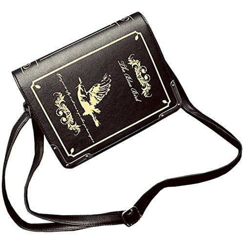 Partiss Damen Magic Book Bibel Shaped Tasche Schwarz Gothic Lolita Handtasche Umhaengetasche Cosplay Shouldertasche Messenger Lolita Handbags A 1