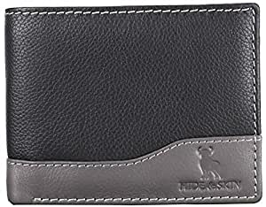 HIDE & SKIN RFID Blocking Men's Slim Wallet with 10 Card sots, 2 Currency Compartment, 1 Coin Pocket and Secure Zipper (Black and Grey)