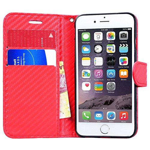 WE LOVE CASE Coque iPhone 6 Plus, Housse en Cuir a Rabat de Protection Étui iPhone 6S Plus Portefeuille, Coque avec Rabat Personnalise Fonction Support Stand Fente Carte et Magnétique Fermeture Stitch Rouge