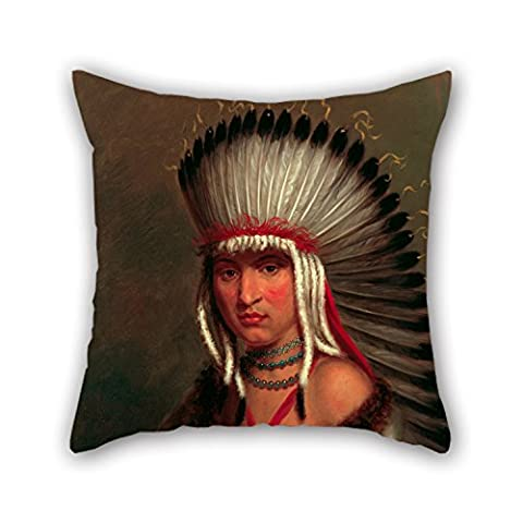Uloveme 16 X 16 Inches / 40 By 40 Cm Oil Painting Charles Bird King - Petalesharro (Generous Chief), Pawnee Pillowcase ,twin Sides Ornament And Gift To Bar,boys,drawing Room,study