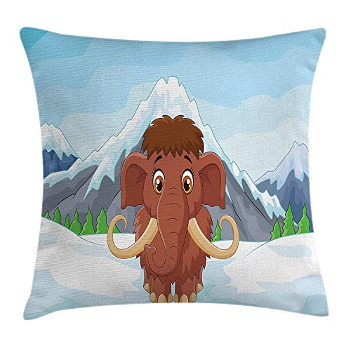 Cartoon Throw Pillow Cushion Cover, Baby Mammoth in Ice Snowy Mountain Winter Cheerful Animal Prehistoric Design, Decorative Square Accent Pillow Case, 18 X 18 Inches, Brown and Blue