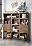 Bücherregal Akazie 142x45x147 braun lackiert LIVE EDGE #212 modern