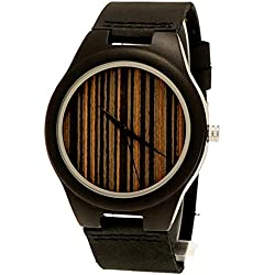 'Pure Time® Designer Unisex Organic Natural Wood Leather Watch in Black/Brown-Limited Edition incl. Watch Box