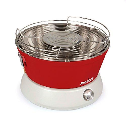 Tragbaren Holzkohle-grill Aus Stahl (Rustler Holzkohle Grill mit Belüftung, Tragetasche und gratis BBQ Handschuhe in Rot)