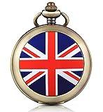 Unendlich U Union Jack Retro carica manuale meccanico orologio da tasca foto medaglione bianco quadrante orologio scheletro maglione collana, entrambe le catene