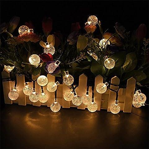 LED Lichterkette Solar, Enllonish Solar Lichterkette Garten Lichterkette Außen Kristall Solar Kugel Beleuchtung für Party, Outdoor, Fest Deko usw (WARM WHITE)