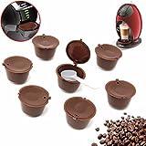 Bearony Taza Reutilizable de la cápsula del café, 8pcs fijó Las cápsulas para el Filtro Reutilizable de la Taza de café de los cerveceros de Dolce Gusto