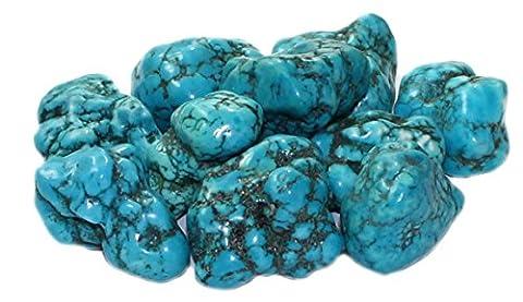 budawi® - Trommelstein Türkenit (gefärbter Magnesit) Türkis, Edelstein Nugget ca. 25 - 30 mm