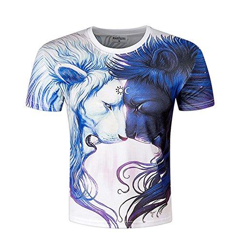 LAEMILIA Herren 3D Print T Shirt Wasser Tropfen Aufdruck Kurzarm Tops Sommer leicht bunt bequem Hemd Unisex cool Digital Schmale Passform Doppelt Löwe