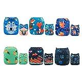 Alva Baby-6pcs Paket ausstatten Taschen Waschbar Einstellbare Tuch-Windel mit 2 Einsätze pro Stück (Mädchen Farbe) 6DM09-DE