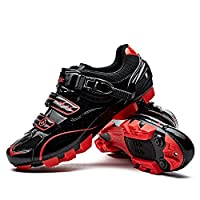 Santic Cycling Shoes Men SPD Mountain Bike Lock Shoes MTB Cycling Accessories Breathable Self-Locking Shoes 7 Black