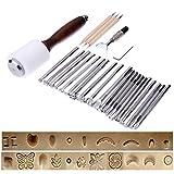 Yalulu 25 Stück Leder Handwerk Werkzeuge Tool Kit Carving Werkzeug Ahle Punzieren Hammer Tracing Line Pen