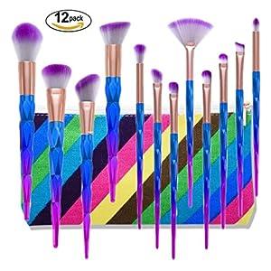 BYBO 12 Pcs Kit De Pinceau Maquillage, Pinceau Fond de Teint, Pinceau à Poudre, Pinceau Ombre à Paupières, Pinceau Eyeliner Kabuki Brush-professional Beauté cosmétiques outils kit
