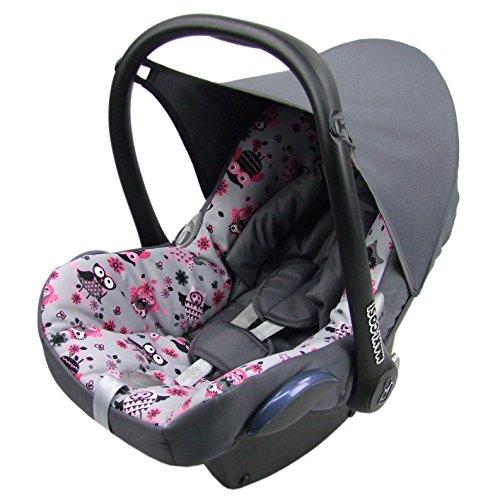 BAMBINIWELT Ersatzbezug für Maxi-Cosi CabrioFix 6-tlg, Bezug für Babyschale, Komplett-Set EULE $12/DUNKELGRAU