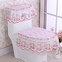 MEI Alfombrillas Alfombrillas antideslizantes Juego de tres asientos de tela de baño Funda de asiento de inodoro Cojines de asiento Funda de asiento de inodoro de tres piezas ( Color : E )