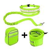 Hände Frei Jogging-Leine - AntEuro 144 cm Hundeleine mit Verstellbarem für Hunde Hundeleinen Set Reflektierende Bauchgurt für Joggen, Spazieren und Wandern (Grün)
