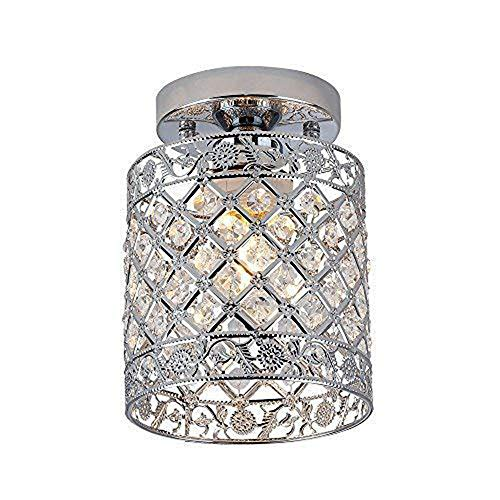 MJCDNB Crystal Minimalist Deckenleuchte, Moderne minimalistische Deckenleuchte aus Kristall mit einem Kopf und LED-Metalldecken für den Eingangsbereich der Halle -