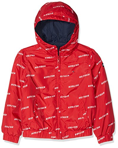 Tommy Hilfiger Jungen Jacke Essential Reversible Hooded Jacket Rot (Lollipop 633) 152 (Herstellergröße: 12)