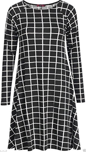 Robe Midi à manches longues Patineuse Swing en jersey évasé Thé Uni Femmes Black & White Check (Small Squares)