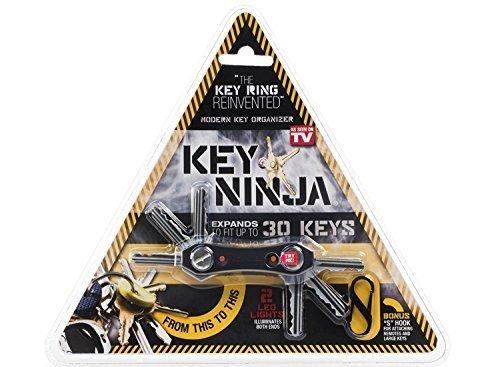 Key Ninja - Portachiavi pieghevole apribottiglie per organizzare le tue chiavi - con 2 luci a led, inserisci fino a 14 chiavi
