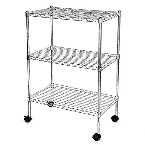 Songmics Chrome - 3 Tire Wire Kitchen Storage Rack Shelving with Wheels for Office/Utility room 81 x 60 x 35 cm LGR03C