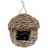 Générique Nichoir à Oiseaux en Paille pour Perroquet Hamster Petit Animal Cage Oiseaux élevage Maison d'oiseaux décorations à Suspendre, Taille L