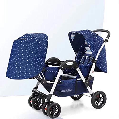 LZTET Zwillinge Kinderwagen Doppelsitz Klapp Leichte Reise System Kinderwagen Hohe Landschaft Geeignet Für Alter 0~3 Jahre Alt,Darkblue