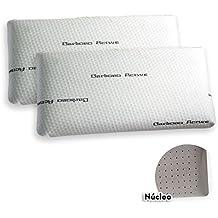 Pack de 2 Almohadas Viscoelásticas Modelo CARBONO PERFORADA, Color Blanco, Medida 70 cm (Otras medidas disponibles)