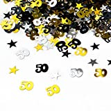 Oblique Unique® 50. Geburtstag Jubiläum Konfetti Gold Silber Schwarz Sterne Tisch- Konfetti mit Spiegeleffekt - über 500 Stück