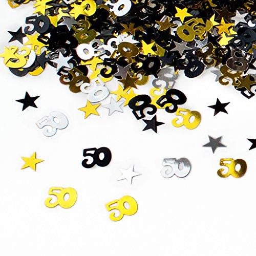 Geburtstag Jubiläum Konfetti Gold Silber Schwarz Sterne Tisch- Konfetti mit Spiegeleffekt - über 500 Stück ()