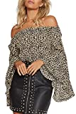 YOINS Damen Schulterfrei Oberteil Off Shoulder Pullover für Damen Oberteile Langarm Leopard Leopard EU40-42
