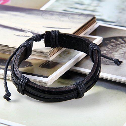 Flongo Bracelet Cuir Simple Chaîne de Main Artisanal Tribal Réglable Punk Rock Couleur optionnel Fantaisie Bijoux Cadeaux pour Femme Homme Noir