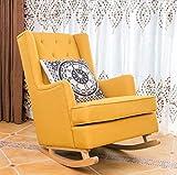Rocking Chair En Bois Massif Américain Simple Moderne Paresseux Canapé Inclinable Adulte Loisirs Salon Balcon Fauteuil (Couleur : Le jaune)