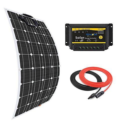 Giosolar Panneau solaire 100W souple kit Panneau solaire monocristallin + 20A 12V/24V LED contrôleur + 5m câble solaire pour bateau camping-car caravane systèmes Hors-réseau
