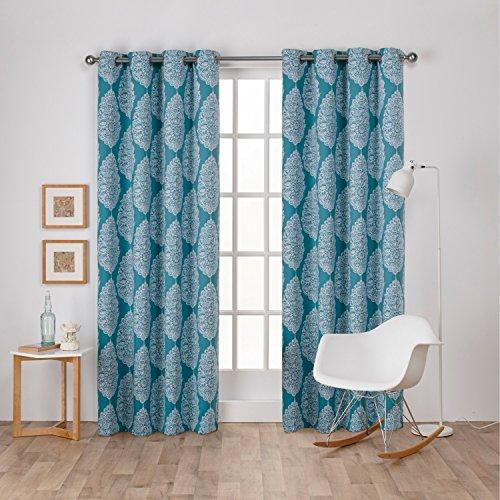 Exclusive Home Vorhänge Queensland bedruckt Medaillon Satin Woven Verdunkeln Tülle Top Fenster Vorhang Panel, Blaugrün, 52x 108cm (Silk Tülle)