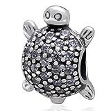 Soulbead Dije de tortuga de mar en plata de ley 925con piedras clara de circonio para pulsera de marca europea