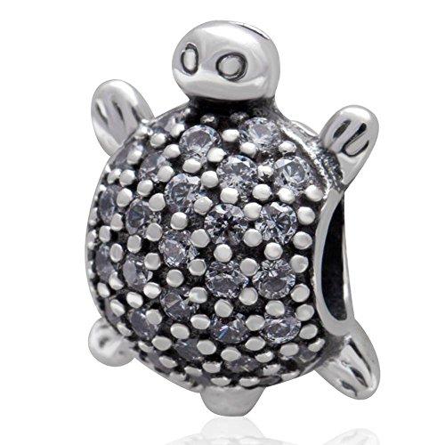 soulbead Meer Schildkröte Charm 925Sterling Silber mit Zirkon Klar Steinen Bead für europäischen Marke Armband (Turtle-armband Sterling-silber)
