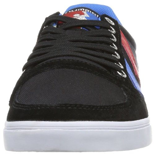 Hummel Sneaker Unisex Erwachsene – SLIMMER STADIL LOW – Freizeitschuh div. Farben - Halbschuh Leinen / Wildleder – Klassik Turnschuh Comfort Sohle Schwarz (Black/Blue/Red/Gum)