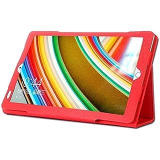 AKNICI Slim Folio Hülle Case Tasche, Kompatibel für Kivors 10,1 Zoll Tablet PC, Haehne 10,1 Zoll Tablet PC, JINYJIA 10.1 Zoll Tablet PC Etc - Rot