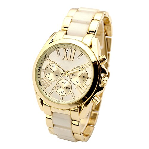JSDDE Uhren jwq00952 Armbanduhr Herren Business Armbanduhr Drei unecht Chronograph Designer Analog Quarzuhr (Beige)