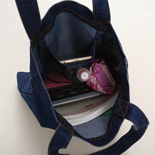 MKXI® Damen Denim Tasche Umhängetasche Stickerei Handtasche Schultertasche Shopper Tragetasche Einkaufstasche Himmelblau
