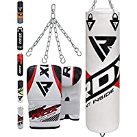 RDX Boxsack Set Gefüllt Kickboxen MMA Muay Thai Boxen mit Stahlkette Training Handschuhe Kampfsport Schwer Punchingsack 4FT 5FT Punching Bag
