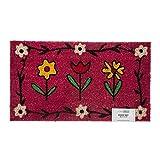 Homescapes Schmutzfangmatte Fußmatte Blumen pink 45 x 75 cm (Breite x Länge) Türmatte aus 100% Kokosfaser mit rutschfestem Gummirücken strapazierfähiger Fußabtreter